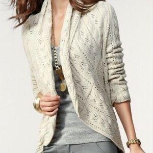 CAbi Tan Circle Knitted Cardigan Cotton Sweater